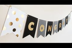 Black and Gold Glitter Banners personalized with Congrats, Congratulations, or whatever you want! Perfect for gold wedding decor or as a bridal shower