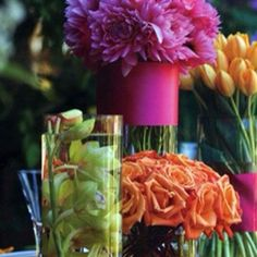 Solid bouquets in various colors and types--another way to use multiple colors