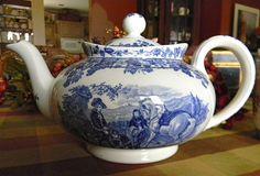 Spode Byron Blue Transferware Teapot Tea Pot