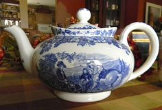Spode Byron Blue Transferware Teapot Tea Pot