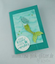 Monochromatic - Blue www.rosa-pink-glitzer.de: Stampin up Magical Mermaid in Bermudablau und Limette