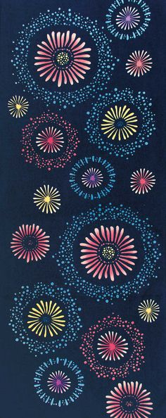 Japanese Tenugui Cotton Fabric, Colorful Fireworks Design, Summer Fabric, Navy Blue, Hand Dyed Fabric, Japanese Art Wall , Home Decor, JapanLovelyCrafts
