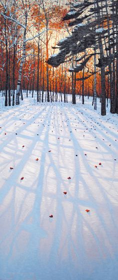 "'Winter Shadows II' - by Mark Berens (oil on board  60x24"") - (snow, sunset, landscape, trees, art, illustration)"