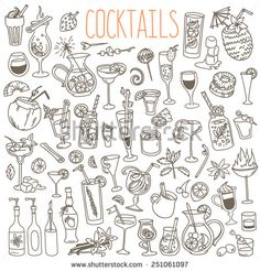 Set Of Various Doodles, Hand Drawn Rough Simple Sketches Of Various Kinds Of Cocktails And Soft Drinks. Vector Freehand Illustration Isolated On White Background. - 251061097 : Shutterstock