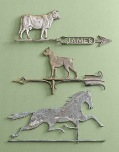 TOP TO BOTTOM: Examples of combination weather vanes/lightning rods are this zinc cow (c. 1910); zinc boxer (1900); copper horse (1880). Lightning rods were used to protect buildings.