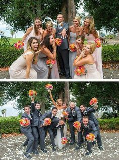 Fun wedding photography idea for your bridesmaids and groomsmen