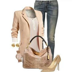will always be the go to date night outfit  blazer, jeans, & heels