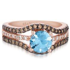 chocolate diamonds and aquamarine jewelry | Sea Blue Aquamarine Ring with .56 Carat Chocolate and Vanilla Diamonds ...