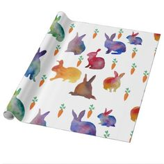Rabbits and carrots  watercolo art  Wrapping Paper - paper gifts presents gift idea customize