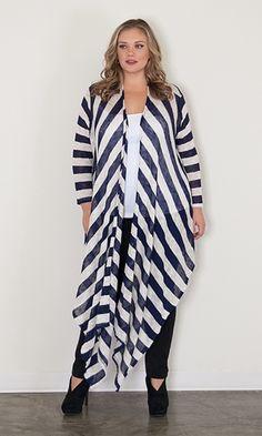 Zaidee Striped Cardigan $49.90 by SWAK Designs #swakdesigns #PlusSize #Curvy