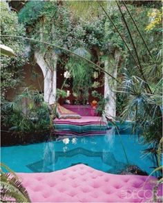 Pink couch pool., Marrakech, Morocco