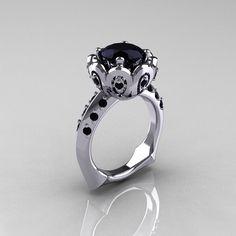 Classic 950 Platinum 3.0 Carat Black Diamond Greek Galatea Bridal Wedding Ring AR114-PLATBDD. $2,199.00, via Etsy.
