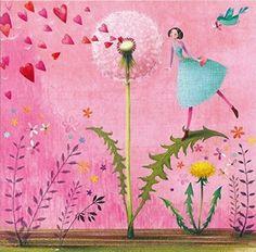 Postkarte Mila Marquis * Frau mit Pusteblume * 140x140mm * Spotlack