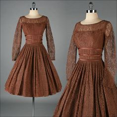 ANN MARSH  brown lace  by millstreetvintage, $175.00