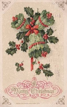 Antique-CHRISTMAS-POSTCARD-c1914-Holly-Bells-Embossed-Gold-Winsch-14231