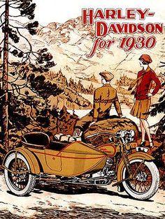 Riding Vintage article on Harley-Davidson Advertising Harley Davidson Vintage, Harley Davidson Museum, Motos Harley Davidson, Harley Davidson Posters, Motorcycle Posters, Motorcycle Art, Bike Art, Sidecar Motorcycle, Women Motorcycle