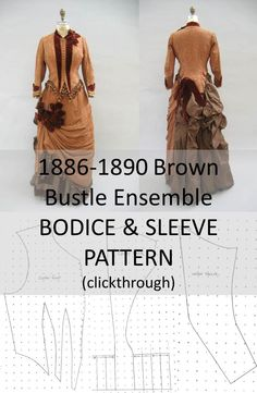 Brown Bustle Ensemble Bodice and Sleeve Pattern (clickthrough for full pattern and instructions) 1880s Fashion, Victorian Fashion, Victorian Outfits, Bodice Pattern, Sleeve Pattern, Historical Costume, Historical Clothing, Historical Dress, Costume Patterns
