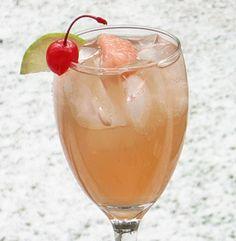 Spring Fever (2 oz. Vodka 5 oz. Ginger Ale 1 oz. Pink Grapefruit Juice Lime wheel/Cherry/Grapefruit slice to garnish)