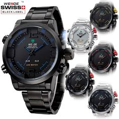 Mens Digital LED Date Analog Big Face Sport Stainless Steel Quartz Wrist Watch