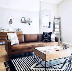 Axel Leather Sofa Home Decor – Mobilier de Salon Boho Living Room, Home And Living, Modern Living, Small Living, Modern Couch, Bohemian Living, Minimalist Living, Minimalist Decor, Living Area