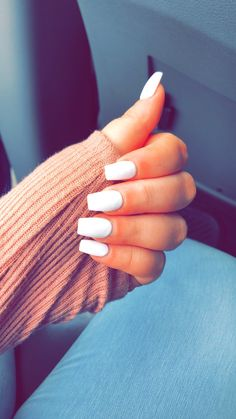 White coffin nails Great ready to book your next manicure, because this nail in White Coffin Nails, White Acrylic Nails, Coffin Shape Nails, White Nails, White Short Nails, White Summer Nails, Acrylic Nails Coffin Short, Coffin Acrylics, Pink Nail