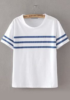 Shop Round Neck Striped Loose T-shirt online. SheIn offers Round Neck Striped Loose T-shirt & more to fit your fashionable needs.