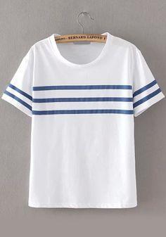 camiseta cuello redondo rayas relax fit