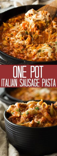 One Pot Italian Sausage Pasta is an easy 30 minute meal. It's filled with simple ingredients and big on flavor!This One Pot Italian Sausage Pasta is an easy 30 minute meal. It's filled with simple ingredients and big on flavor! Ground Italian Sausage Recipes, Sausage Crockpot Recipes, Sausage Recipes For Dinner, Italian Sausage Pasta, Pork Recipes, Sausage Pasta Sauce, Sausage Meals, Italian Sausages, Recipes Using Sausage Meat