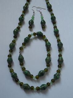 green paper bead jewelry