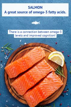 Your brain wants more salmon! There is a connection between the in salmon and improved cognition! Check out more brain health food tips at our site! Healthy Brain, Brain Food, Brain Health, Health Diet, Health And Wellness, Food Tips, Food Hacks, Omega 3, Balanced Diet
