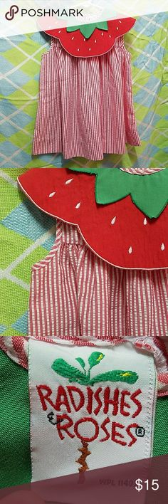 Strawberry Seersucker Dress Summertime is sweet when your little one is in this darling sleeveless Seersucker Dress with strawberry collar. Radishes & Roses Dresses