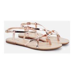 Justfab Flat Sandals Kayla ($15) ❤ liked on Polyvore featuring shoes, sandals, metallic, metallic flat sandals, wide width flats, platform sandals, metallic platform sandals and flat shoes