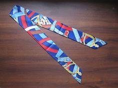 Blue Red brown Yellow Silk Twilly Scarf Handbag Tie Silk Tie 100% Silk Scarf - Belt Straps Print 40in x 2in (100 x 5cm) - Premium Quality