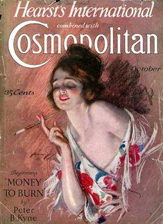 """""""Cosmopolitan"""" magazine, October 1926 - Cover illustration by Harrison Fisher Vintage Labels, Vintage Ads, Vintage Images, Vintage Posters, Retro Posters, Cosmopolitan Magazine, Instyle Magazine, Old Magazines, Vintage Magazines"""
