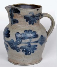 PENNSYLVANIA STONEWARE COBALT DECORATED BATTER PITCHER