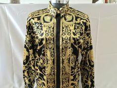 Hermes geïnspireerd zijden hemd voor mannen, barokke zijden hemd mannen maat…