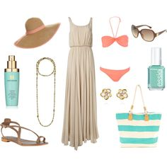 Aqua, coral pink, gold and neutral swimsuit bikini beach outfit.