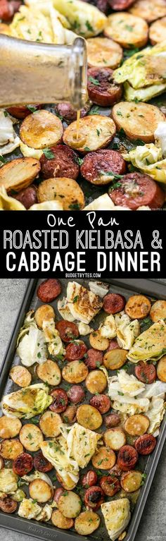 This One Pan Roasted Kielbasa and Cabbage Dinner comes together in minutes and is full of flavor and comfort. An easy weeknight dinner!(Potato Recipes On The Grill) Easy Meat Recipes, Cabbage Recipes, Grilling Recipes, Pork Recipes, Easy Dinner Recipes, Cooking Recipes, Healthy Recipes, Cheap Recipes, Potato Recipes