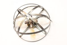 "Flush Mount Industrial Light with 4 sockets | 17""  Rust Syle Metal Wine Barrel Strap Globe Ceiling Lamp"