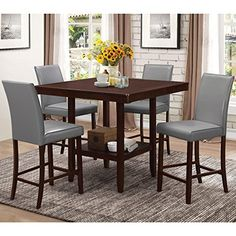 A Line Furniture Medlin Contemporary Espresso 5-piece Grey Upholstered Counter Height Dining Set