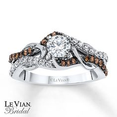 I loooove these Levian Chocolate Diamonds! Chocolate Diamonds® 3/4 ct tw Engagement Ring 14K Vanilla Gold™