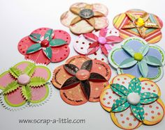 cardmaking embellishments from SCRAP A LITTLE!: Tutorial for simple dahlia flowers ...easy to do with double sided paper ...