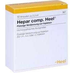 HEPAR COMP.Heel Ampullen:   Packungsinhalt: 10 St Ampullen PZN: 06340636 Hersteller: Biologische Heilmittel Heel GmbH Preis: 15,46 EUR…