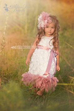 Sweet Mist Angel Rosette Girls Feather Dress by sharpsissors, $158.00