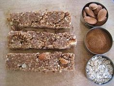 All Natural Breakfast Bars:      1 tsp almond extract     3/4 cup rolled oats     2 oz flax seeds     1/2 cup peanut butter     2 tsps cinnamon     1/2 tsp nutmeg     2 tsps vanilla extract     1 small banana     1/2 cup almonds     1/4 cup honey