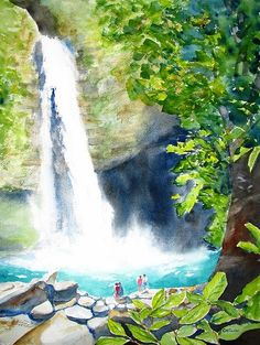 """La Fortuna Waterfall"" Original Fine Art Watercolor Painting by Carlin Blahnik.   Located in Costa Rica, this 70-meter ribbon of water falls into a great turquoise blue swimming hole, surrounded by lush tropical forest. http://www.carlinart.com/ For Prints: http://carlin-blahnik.artistwebsites.com/featured/la-fortuna-waterfall-carlin-blahnik.html"
