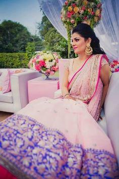 Engagement Lehenga by Manish Malhotra, elegant engagement lehenga , pastel lehenga , shimmery sequin border, chaand baali , pastel girly lehenga , sangeet lehenga
