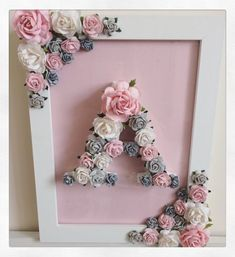 New ideas baby diy room ideas shower gifts Diy Bebe, Creation Deco, Floral Letters, Christening Gifts, Shower Gifts, Paper Flowers, Paper Dahlia, Diy Gifts, Diy And Crafts