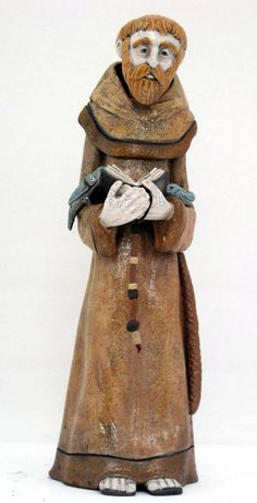 Sculpture of St. Francis, patron saint of Italy. Raku fired
