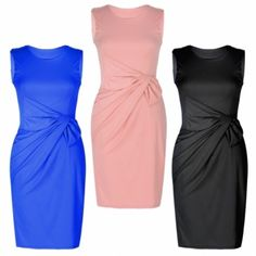 Ladies Women's Big Bow Detail Pleated Ponte Dress Evening Party Casual 3 Colors